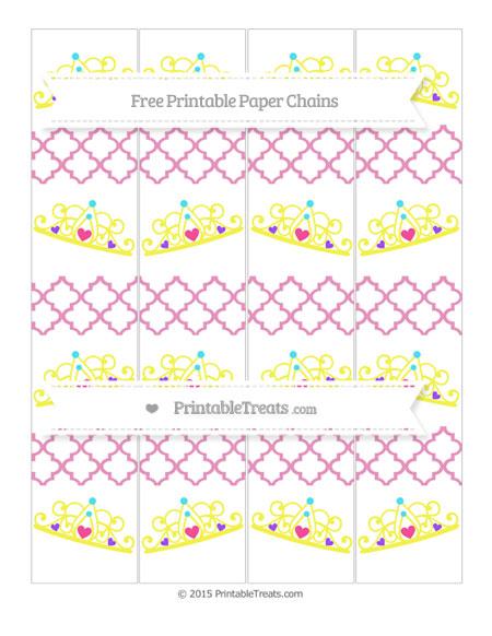 Free Pastel Bubblegum Pink Moroccan Tile Princess Tiara Paper Chains