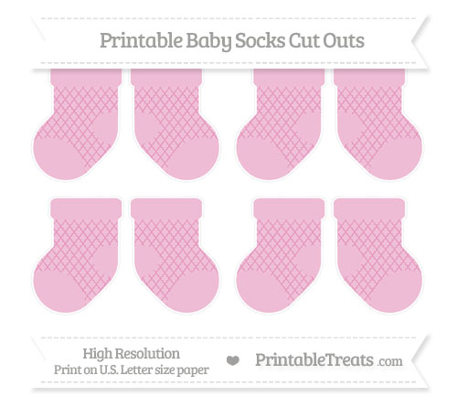 Free Pastel Bubblegum Pink Moroccan Tile Small Baby Socks Cut Outs