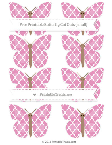 Free Pastel Bubblegum Pink Moroccan Tile Small Butterfly Cut Outs