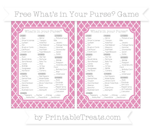 Free Pastel Bubblegum Pink Moroccan Tile What's in Your Purse Baby Shower Game