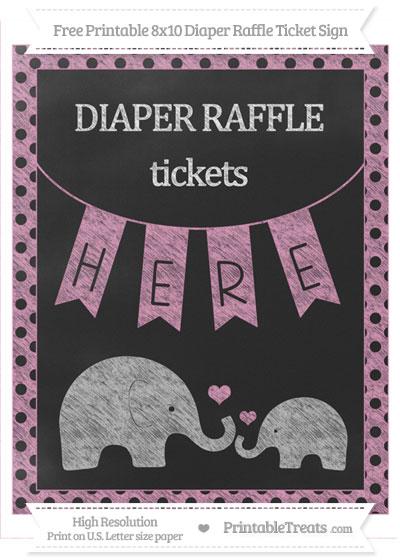 Free Pastel Bubblegum Pink Polka Dot Chalk Style Elephant 8x10 Diaper Raffle Ticket Sign