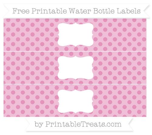 Free Pastel Bubblegum Pink Polka Dot Water Bottle Labels