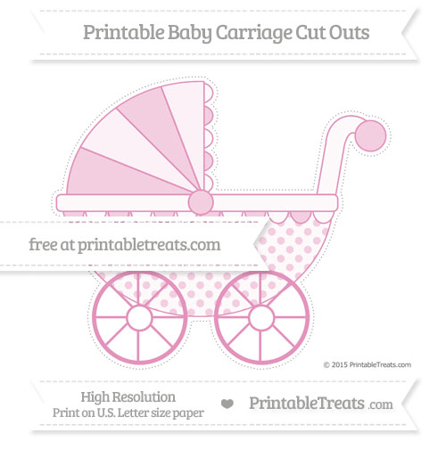 Free Pastel Bubblegum Pink Polka Dot Extra Large Baby Carriage Cut Outs