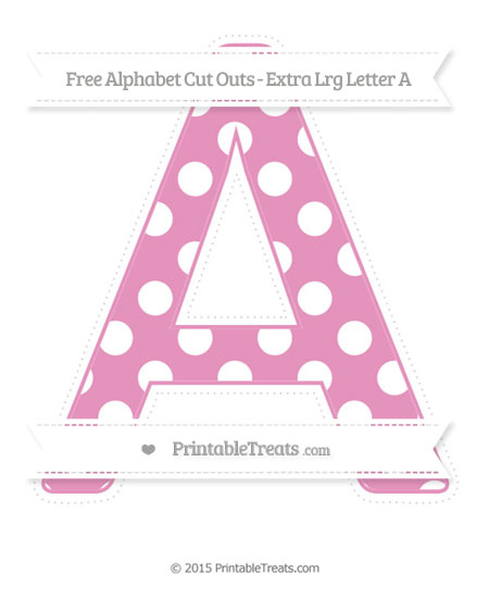 Free Pastel Bubblegum Pink Polka Dot Extra Large Capital Letter A Cut Outs