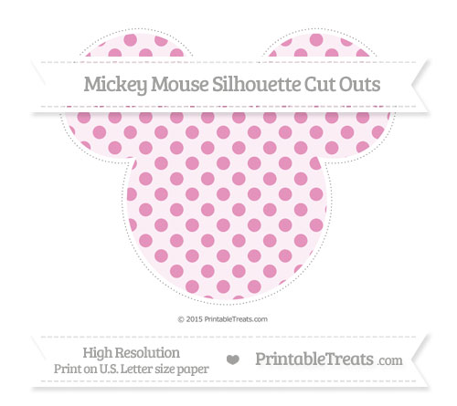 Free Pastel Bubblegum Pink Polka Dot Extra Large Mickey Mouse Silhouette Cut Outs