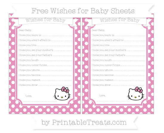 Free Pastel Bubblegum Pink Polka Dot Hello Kitty Wishes for Baby Sheets