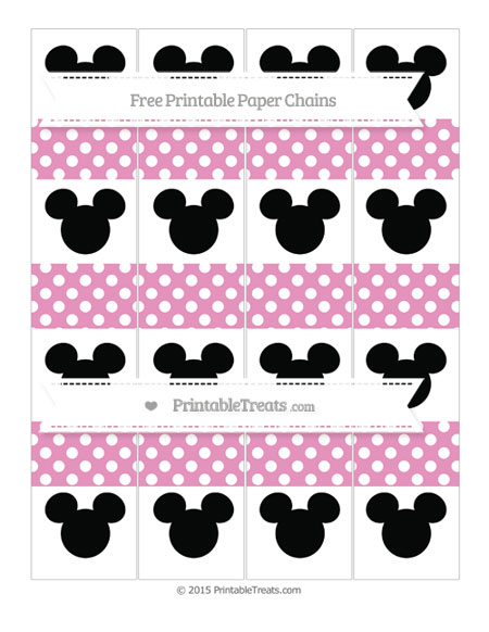 Free Pastel Bubblegum Pink Polka Dot Mickey Mouse Paper Chains