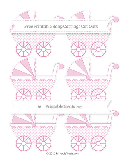 Free Pastel Bubblegum Pink Polka Dot Small Baby Carriage Cut Outs