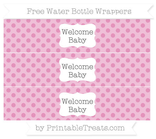 Free Pastel Bubblegum Pink Polka Dot Welcome Baby Water Bottle Wrappers