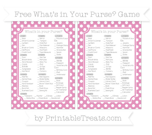 Free Pastel Bubblegum Pink Polka Dot What's in Your Purse Baby Shower Game
