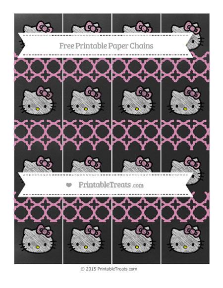 Free Pastel Bubblegum Pink Quatrefoil Pattern Chalk Style Hello Kitty Paper Chains