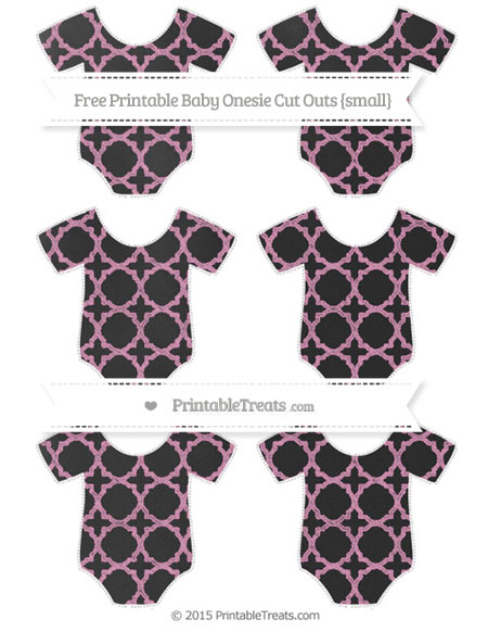 Free Pastel Bubblegum Pink Quatrefoil Pattern Chalk Style Small Baby Onesie Cut Outs