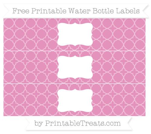 Free Pastel Bubblegum Pink Quatrefoil Pattern Water Bottle Labels