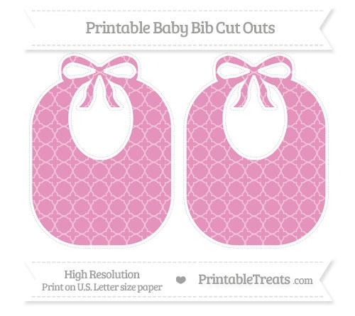 Free Pastel Bubblegum Pink Quatrefoil Pattern Large Baby Bib Cut Outs