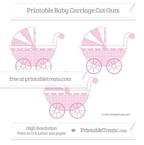 Free Pastel Bubblegum Pink Quatrefoil Pattern Medium Baby Carriage Cut Outs