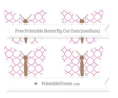 Free Pastel Bubblegum Pink Quatrefoil Pattern Medium Butterfly Cut Outs
