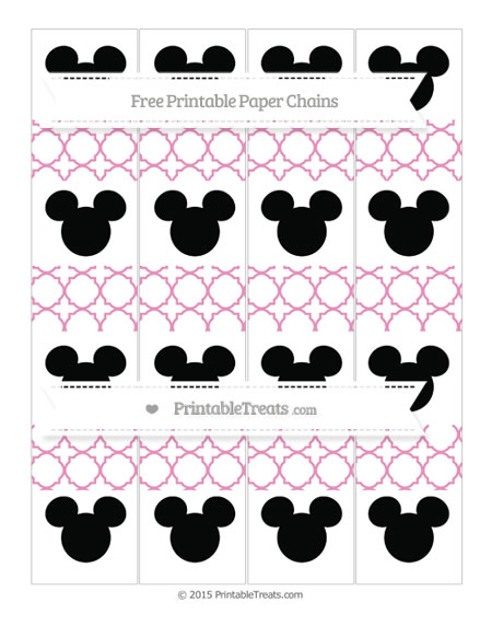 Free Pastel Bubblegum Pink Quatrefoil Pattern Mickey Mouse Paper Chains