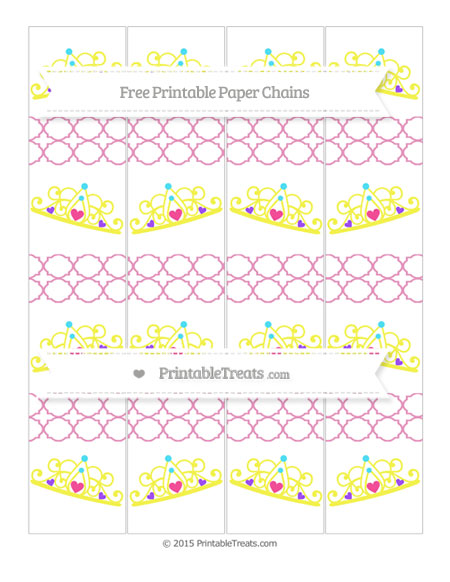 Free Pastel Bubblegum Pink Quatrefoil Pattern Princess Tiara Paper Chains
