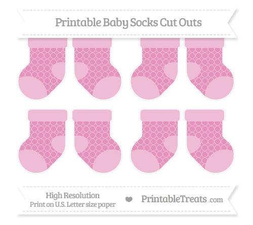 Free Pastel Bubblegum Pink Quatrefoil Pattern Small Baby Socks Cut Outs