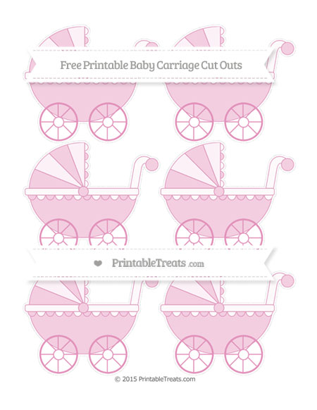 Free Pastel Bubblegum Pink Small Baby Carriage Cut Outs
