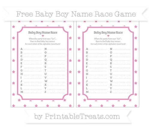 Free Pastel Bubblegum Pink Star Pattern Baby Boy Name Race Game