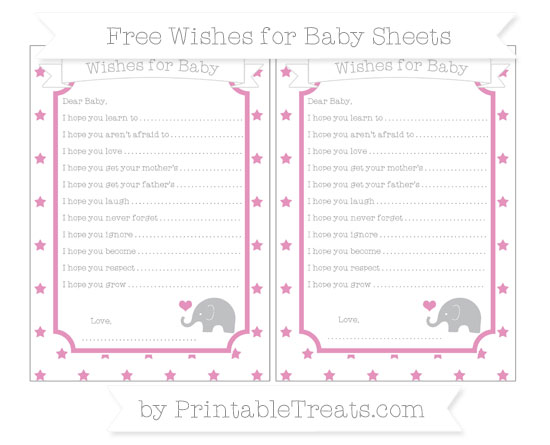 Free Pastel Bubblegum Pink Star Pattern Baby Elephant Wishes for Baby Sheets