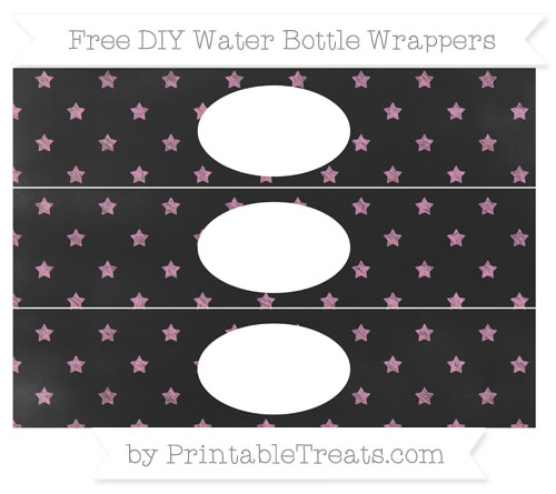 Free Pastel Bubblegum Pink Star Pattern Chalk Style DIY Water Bottle Wrappers