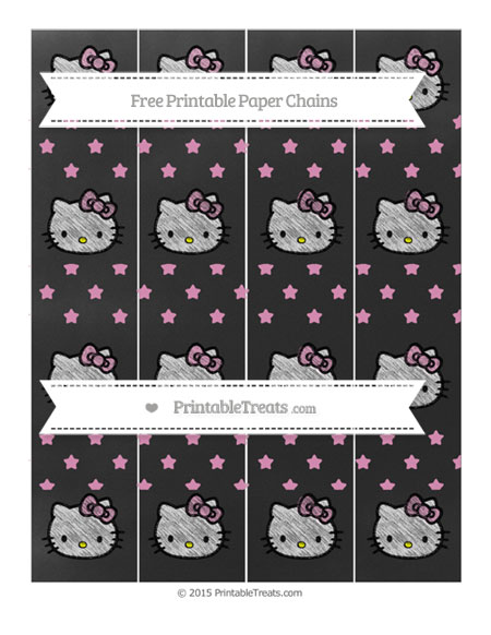 Free Pastel Bubblegum Pink Star Pattern Chalk Style Hello Kitty Paper Chains