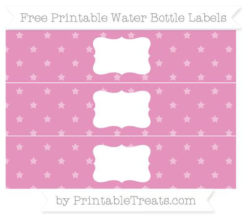 Free Pastel Bubblegum Pink Star Pattern Water Bottle Labels