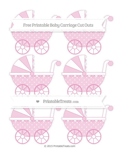 Free Pastel Bubblegum Pink Star Pattern Small Baby Carriage Cut Outs