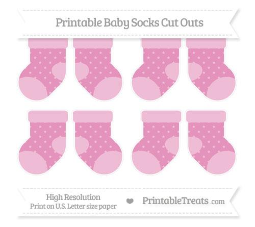 Free Pastel Bubblegum Pink Star Pattern Small Baby Socks Cut Outs