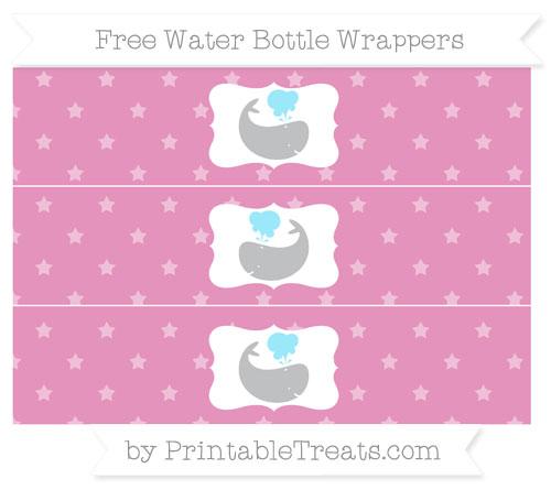 Free Pastel Bubblegum Pink Star Pattern Whale Water Bottle Wrappers