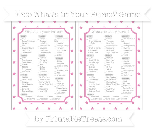 Free Pastel Bubblegum Pink Star Pattern What's in Your Purse Baby Shower Game