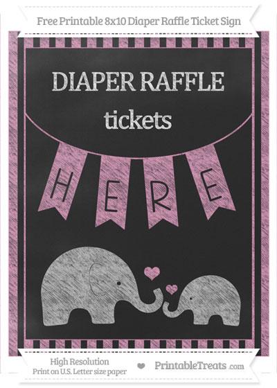 Free Pastel Bubblegum Pink Striped Chalk Style Elephant 8x10 Diaper Raffle Ticket Sign