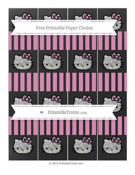 Free Pastel Bubblegum Pink Striped Chalk Style Hello Kitty Paper Chains