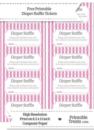 Free Pastel Bubblegum Pink Striped Diaper Raffle Tickets