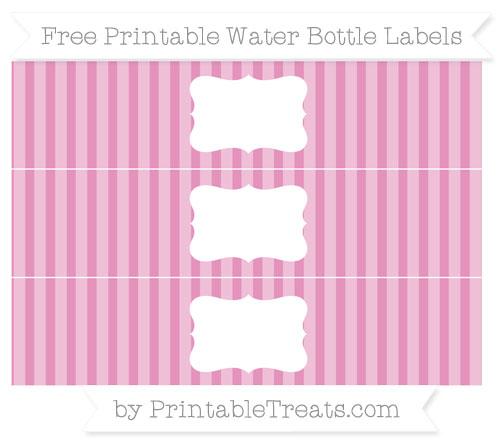 Free Pastel Bubblegum Pink Striped Water Bottle Labels