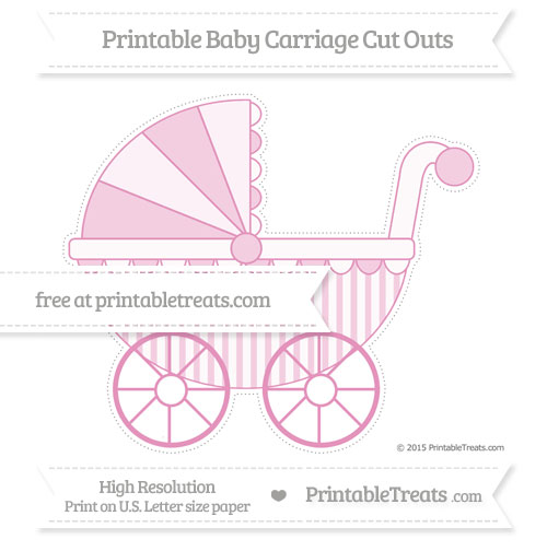 Free Pastel Bubblegum Pink Striped Extra Large Baby Carriage Cut Outs