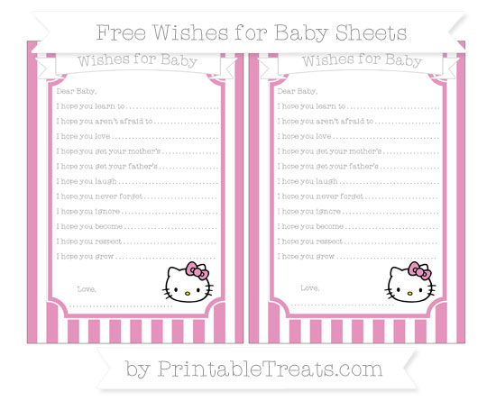 Free Pastel Bubblegum Pink Striped Hello Kitty Wishes for Baby Sheets