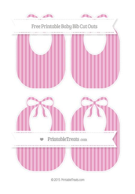 Free Pastel Bubblegum Pink Striped Medium Baby Bib Cut Outs