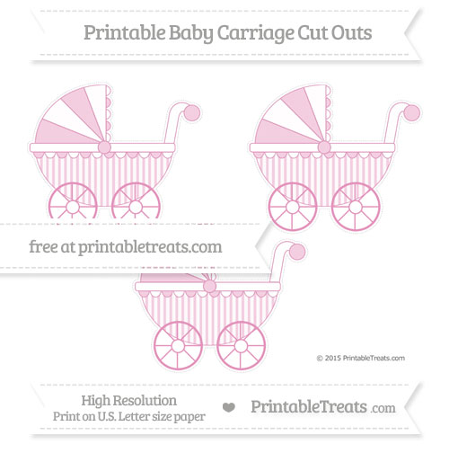 Free Pastel Bubblegum Pink Striped Medium Baby Carriage Cut Outs