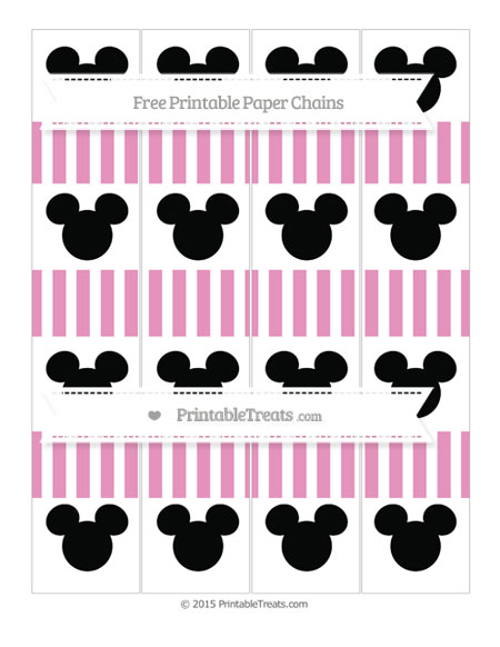 Free Pastel Bubblegum Pink Striped Mickey Mouse Paper Chains