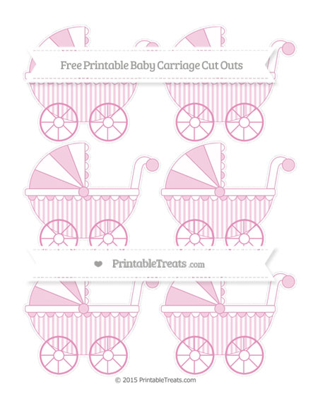 Free Pastel Bubblegum Pink Striped Small Baby Carriage Cut Outs