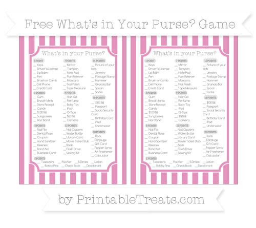 Free Pastel Bubblegum Pink Striped What's in Your Purse Baby Shower Game