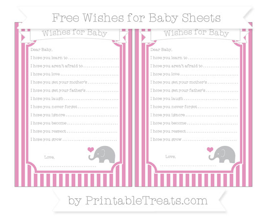 Free Pastel Bubblegum Pink Thin Striped Pattern Baby Elephant Wishes for Baby Sheets