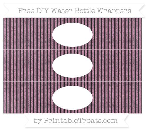 Free Pastel Bubblegum Pink Thin Striped Pattern Chalk Style DIY Water Bottle Wrappers