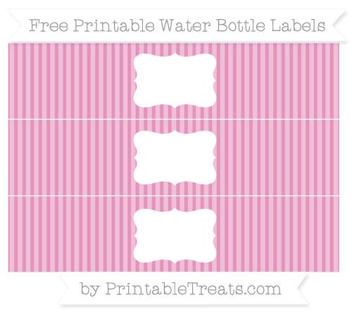 Free Pastel Bubblegum Pink Thin Striped Pattern Water Bottle Labels