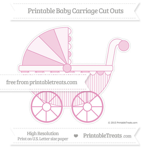Free Pastel Bubblegum Pink Thin Striped Pattern Extra Large Baby Carriage Cut Outs