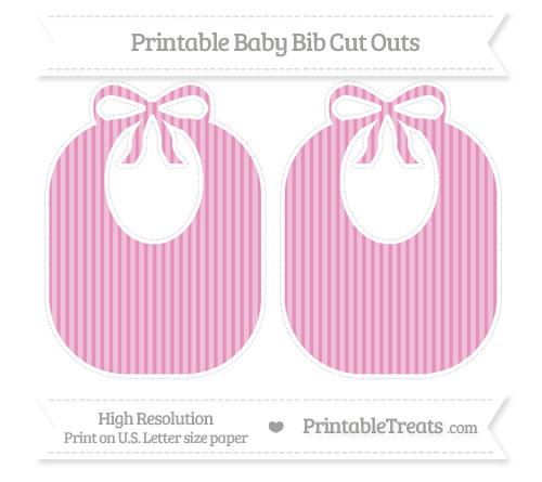 Free Pastel Bubblegum Pink Thin Striped Pattern Large Baby Bib Cut Outs