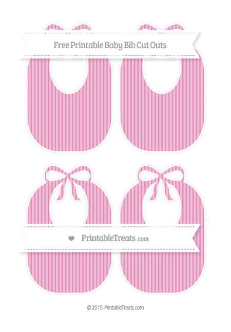 Free Pastel Bubblegum Pink Thin Striped Pattern Medium Baby Bib Cut Outs